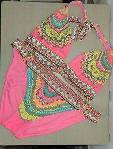 Victoria Secret Mandala Neon Colors Bikini Womens Size Medium EUC