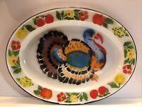 Vintage Enamelware Turkey Flower Fruit Serving Thanksgiving Platter 1950s EUC