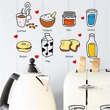 Cute Breakfast Coffee Milk Bread Drink Food Decal | Kitchen Label Fridge Sticker