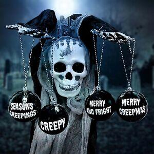 Set of 4 customised dark Christmas alternative goth baubles tree decorations