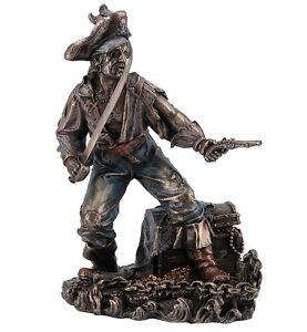 "9.5"" Pirate Captain w/ Cutlass & Pistol Statue Figurine Figure Treasure Chest"