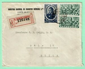PORTUGAL 1946 Registered AIR COVER  > SWITZERLAND 5$75 Rate CASTLE