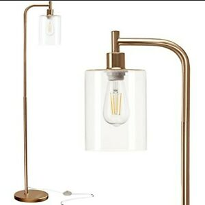 Industrial Floor Lamp, Gold with White Glass Shade, Bulb Included