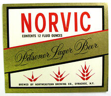 Northeastern Brewing Co NORVIC PILSENER LAGER BEER label NY 12oz