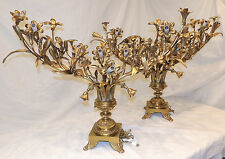 Pair of Antique Decorative Large Bronze Candelabra Lamps six light candelabras