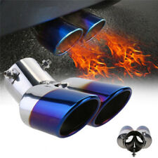 Durable Blue Burnt Polished Steel Car Dual Exhaust Rear Pipes Tail Tip Protecter