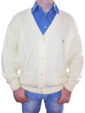 MALAGRIDA Made in Italy Vtg Mens Designer Cable & Thin Knit Cardigan sz XL Z20