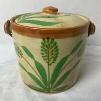 Vtg. Hand Painted Japan Ceramic Biscuit Jar & Lid Wicker Handle. Chipped & Glued