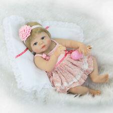 "22"" Full Body Silicone Reborn Baby Girl Lifelike Newborn Doll Blonde Waterproof"