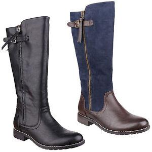 Divaz Bari Twin Zip Full Length Womens Knee High Fashion Boots Shoes UK3-8