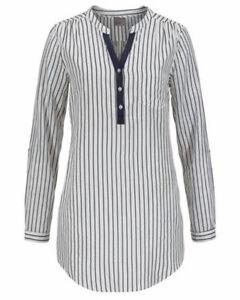Vero Moda Bluse Damen Streifen Schwarz Weiß 729-101 Kelchausschnitt Langarm Neu