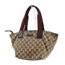 GUCCI GG Supreme Vintage Web Hand Bag Brown Leather Canvas Vintage Auth #J822 W