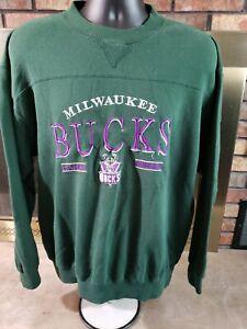 VINTAGE Milwaukee Bucks NBA Basketball Crewneck Sweatshirt Mens Size XL Vtg 90s