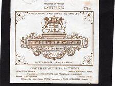 SAUTERNES GCC ETIQUETTE CHATEAU  FILHOT 1983 37.5 CL EXPORT USA RARE  §09/03/16§
