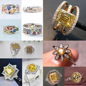 Gorgeous Women 925 Silver White Sapphire Wedding Ring Citrine Jewelry Size 6-10