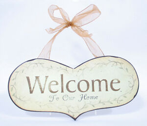 """""""Welcome to Our Home"""" Heart Shaped Plaque Indoor Decor Wall Accents"""
