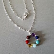 DESIGNER 7 CHAKRA NECKLACE STERLING SILVER TINY GEMSTONE BEAD HEALING JEWELRY