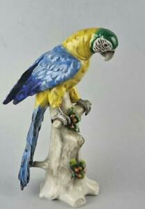 Antique Large German Porcelain Figure of a Parrot by Dresden Sitzendorf