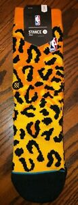 NEW Stance Leopard Print NBA Logo Socks Men 3-5.5, Women 5-7.5, Big Kids 3.5-6