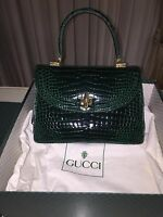 Gucci Borsa Vintage in pelle di coccodrillo Kelly Bag in green crocodile leather