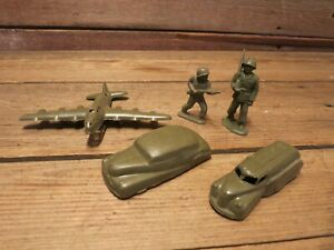 VINTAGE LOT ARMY MILITARY PLAY SET VEHICLES AIRPLANE SOLDIERS