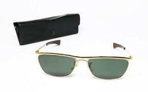 VINTAGE SUNGLASSES RAY BAN OLYMPIAN II DELUXE BAUSCH&LOMB G-15 GOLD SQUARE USA