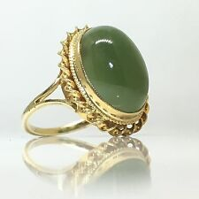 A Stunning Large Jade Vintage Ring in 9ct gold fancy detailed setting