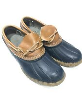 WOMENS L. L. BEAN SLIP ON BLUE RUBBER&LEATHER LOW DUCK BOOTS SZ 9
