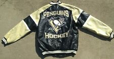 Officially Licensed Pittsburgh Penguins Mens NHL Faux Leather Varsity Jacket M