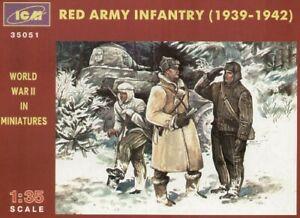 ICM 1/35 Modèle Kit 35051 Soviet Infantry 1939-45 (WWII) 3 X Figures