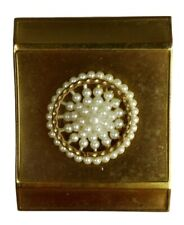 National Art Fifth Avenue Beaded Vintage Compact  Antique Powder Case Faux Pearl