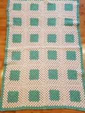Afgan green and white home made crochet blanket hand made 36x56