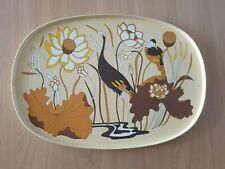 More details for vintage m&s st michael 1970s large melamine tray heron riverside design