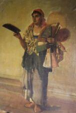 ROME. Vendeuse d'éventails (Ventaglio). Vieux métier italien. Peinture 1877.