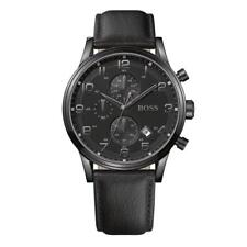 Mens Hugo Boss Aeroliner Chronograph Watch Black Leather Strap