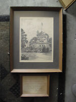 Vintage 1974 Pen and Ink Drawing John Meigs House Hill School Framed