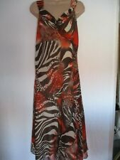 Pomodoro Cream Brown Orange Animal Print Sleeveless Fit & Flare Midi Dress - 14
