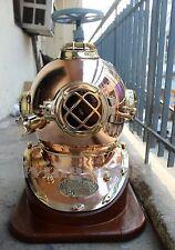Vintage U.S Navy Mark V Solid Copper & Brass Diving Divers Helmet With Base
