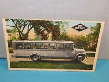 Vintage 1940's The Gray Line Coach Motor Bus Postcard . Cool Advertising ~