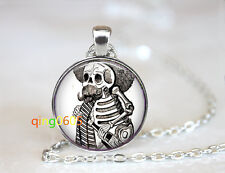 Grunge Gothic Skeleton glass dome Tibet silver Chain Pendant Necklace wholesale
