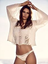 NEW Free People ivory Open Crochet Cutwork Crop Bell Sleeve Pullover Sweater S