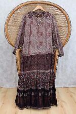 Vintage brown floral paisley cotton gauze indian 70s boho smock gypsy dress M L