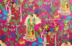 Indian Cotton Sewing Running Loose Screen Print Craft Frida Khalo Fabric 10 Yard