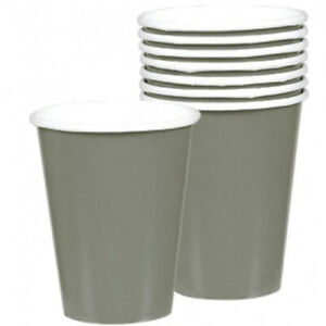 Silver Grey Paper Cups Pack of 8