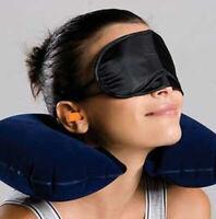 3Pcs Inflatable U Shape Neck Pillow Air Cushion Eye Mask Earplug Travel Set Fash