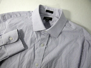 J.Crew Mens Dress Shirt 15 1/2 34 Slim Fit Purple Gingham White Plaid Career