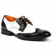 Men's Ferro Aldo Black & White Spectators Wing Tip Formal Oxfords Dress Shoes