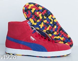 NEW PUMA SUEDE MID CLASSIC + RUBBER MIX RED MEN'S SHOES US10.5