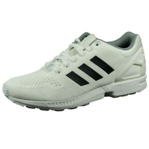 Adidas ZX Flux Mens Shoes Running Athletic White Black Nylon B34513 Size 11 New