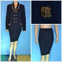 St John Collection Navy Blue Jacket Skirt  L 10 12 2pc Suit Gold Metallic Trims